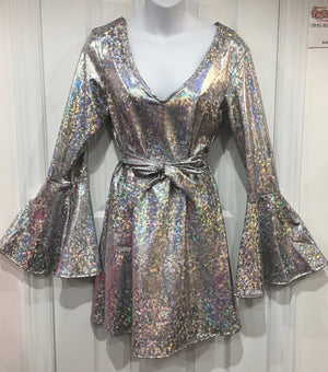 COSTUME RENTAL - X220 Silver HOlographic Disco Dress and belt