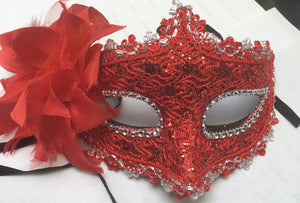 MASK:  Glitter Baroque Mask, Red
