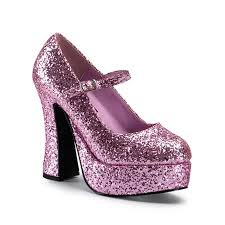 SHOES: Mary Jane Shoes, Pink Glitter -