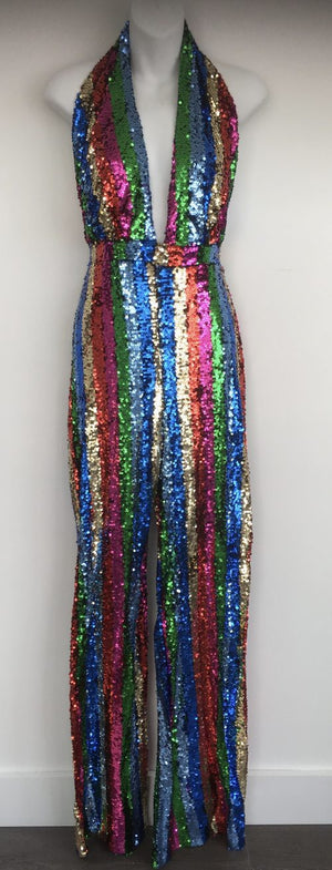 COSTUME RENTAL - X289 1970's Jumpsuit, Disco Sequin Rainbow