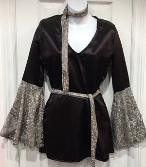COSTUME RENTAL - X230 1970's Blouse, black satin disco with headband and belt -