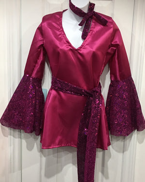 COSTUME RENTAL - X229 1970's Blouse, Magenta disco with belt and headband