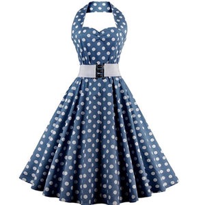 COSTUME RENTAL - J48   1950's Dress, Blue Polka Dot, 2 pieces