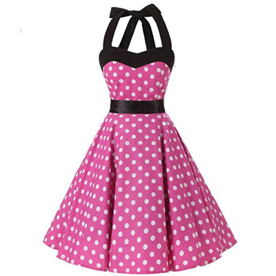 COSTUME RENTAL - J46 1950's dress, Pink Polka Dot, 2 pieces
