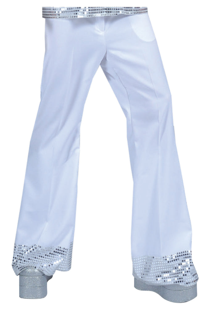 COSTUME RENTAL - X85 Disco Pants, White with sequin trim