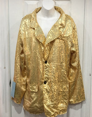 COSTUME RENTAL - X69 Disco Jacket, Gold Sequin