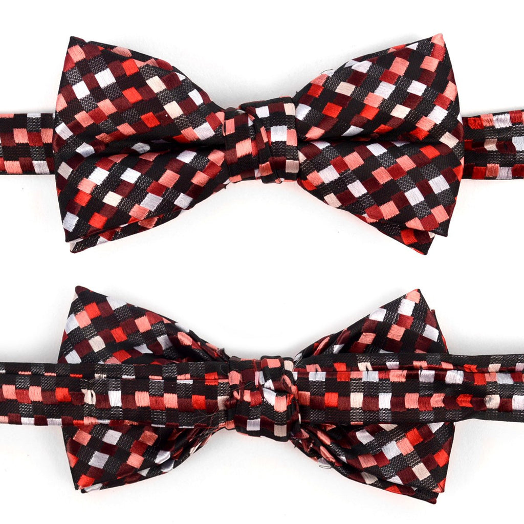 2857a8a18538 Boy's Burgundy Clipon Suspender & Geometric Bow Tie Set - rythetieguy