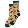 Women's Witty Cream Cat Socks