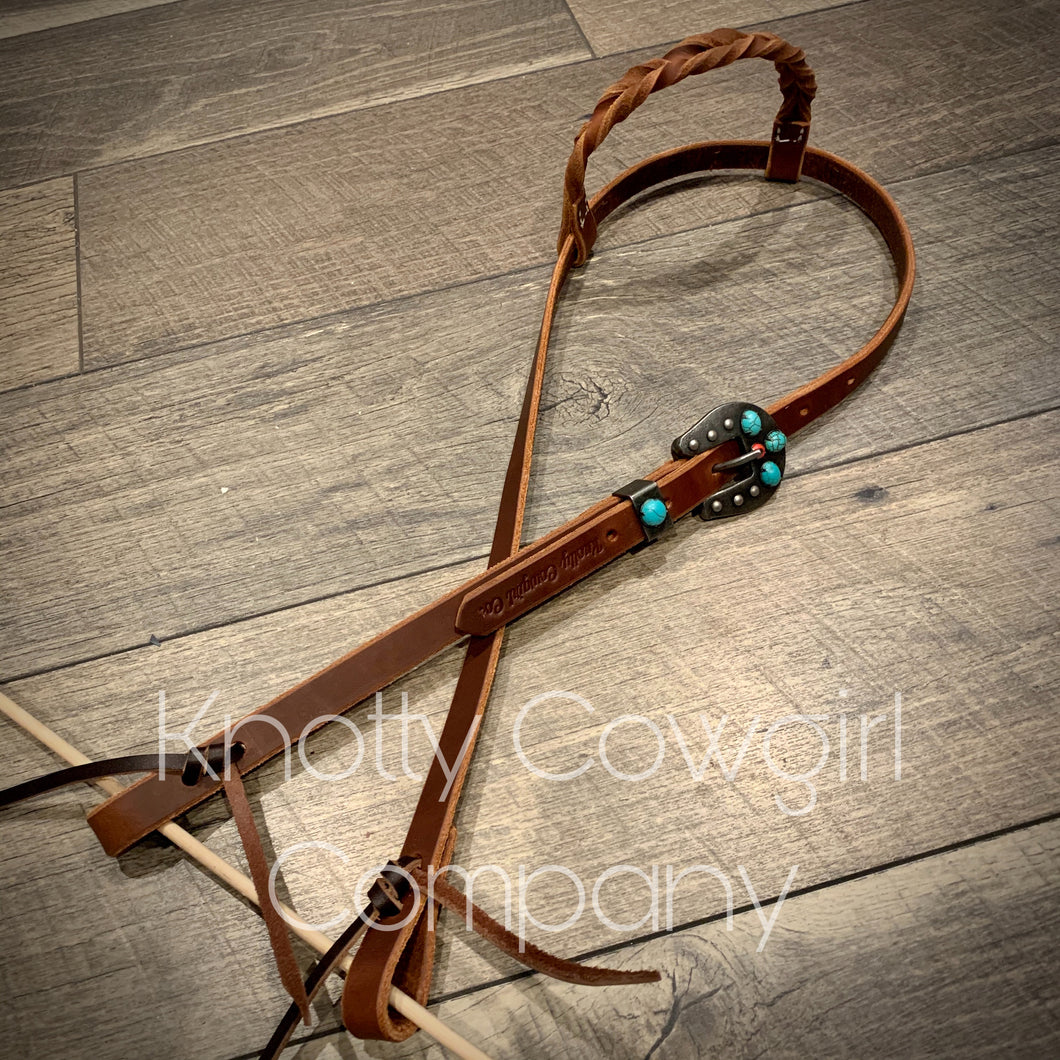 Turquoise & Twisted One Ear Headstall