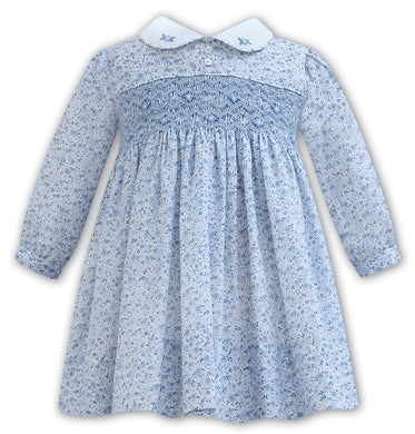 Blue Smock Dress with White Collar