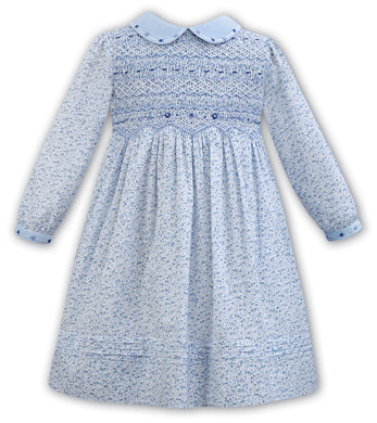 Blue Smock Dress with Blue Collar