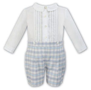 Boys Long Sleeved White Pin-tucked Shirt with Checkered Shorts
