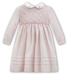 Pink Floral Smock Dress with White Collar