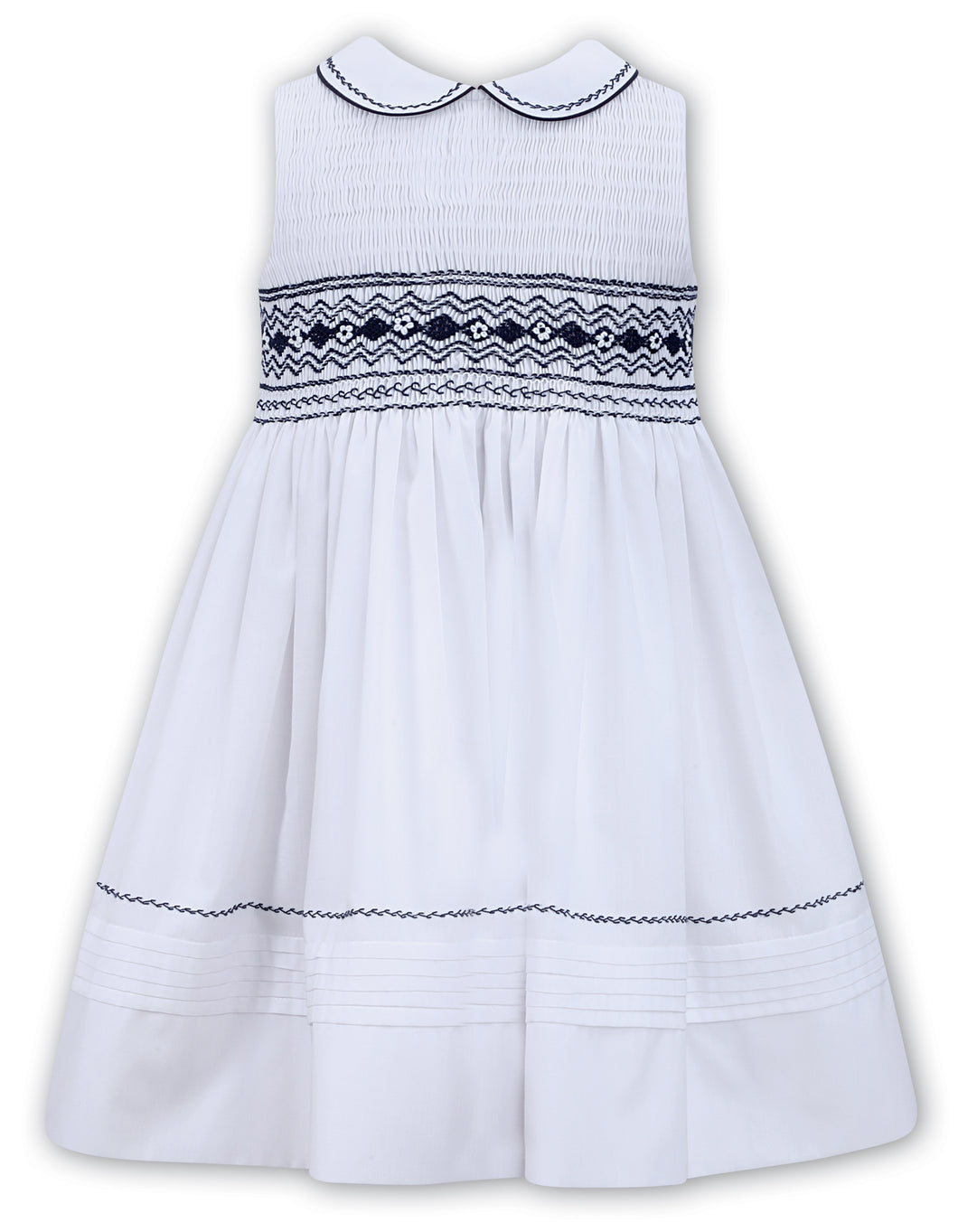White, navy accented, sleeveless dress