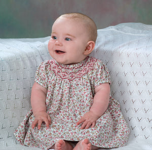 Pink and Green Short Sleeved Dress with Smocking around Neckline