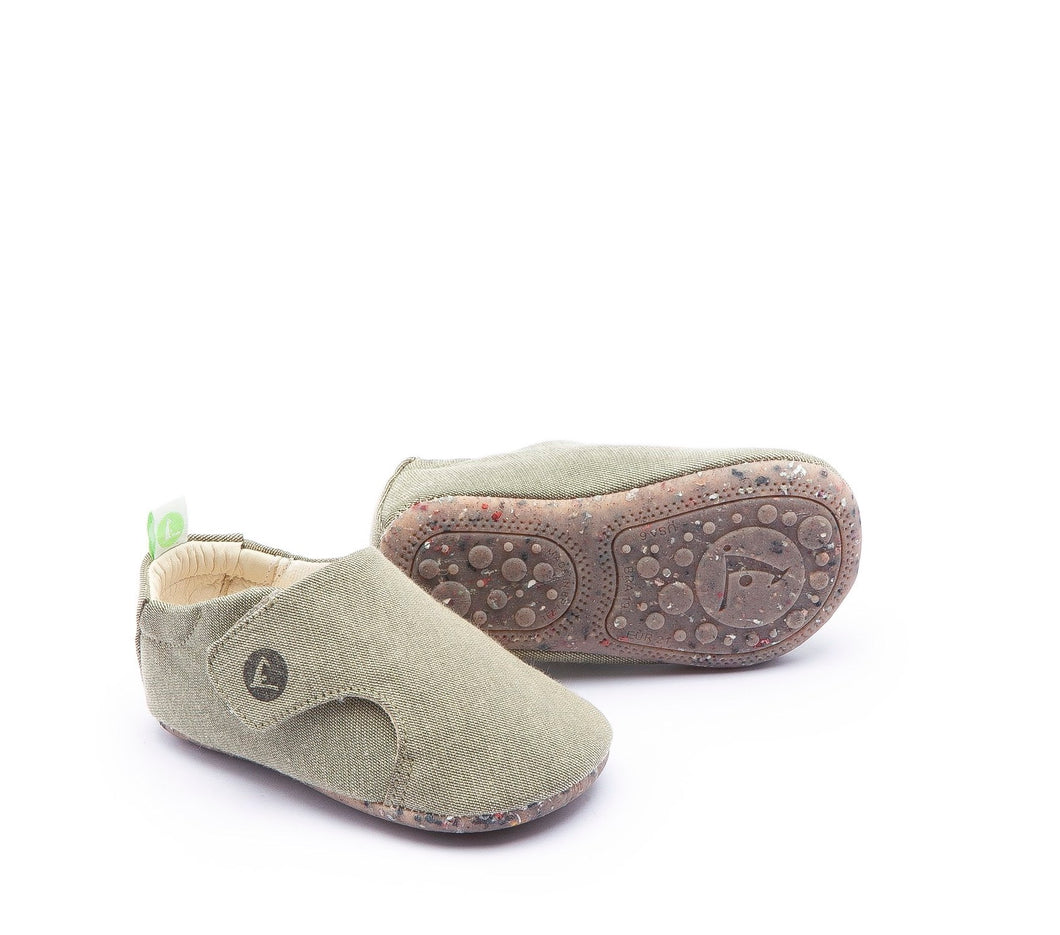 Greeny Baby Shoes in Light Olive Canvas