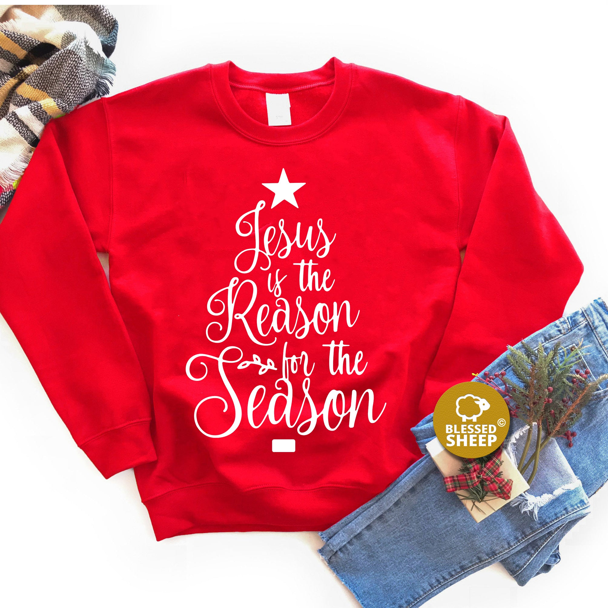 Jesus is the Reason for the Season Embroidered Sweatshirt