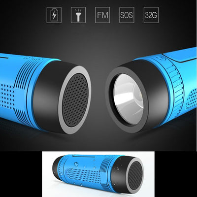 Bluetooth Speaker Cycling Bike Mount Flashlight Power Bank FM Radio LED Torch