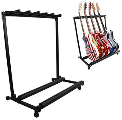 5 Guitar Stand Multiple Five Instrument Display Rack Folding Padded Organizer Electric Or Acoustic
