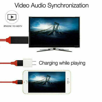 Lightning to HDMI CABLE Screen AV TV 1080p USB Charger iPhone 7 8 X XS MAX iPad