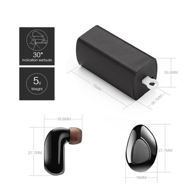 Bluetooth Earbuds True Wireless TWS IPX7 Water Resistant Earphones Mini In-Ear Stereo Headset Call & Music