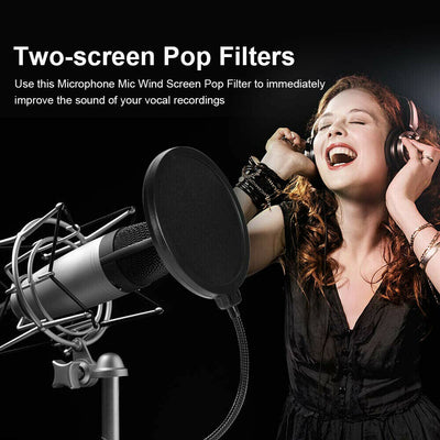 Pop Filter Microphone Recording Studio Mic Wind Screen Mask Shield Double Layer