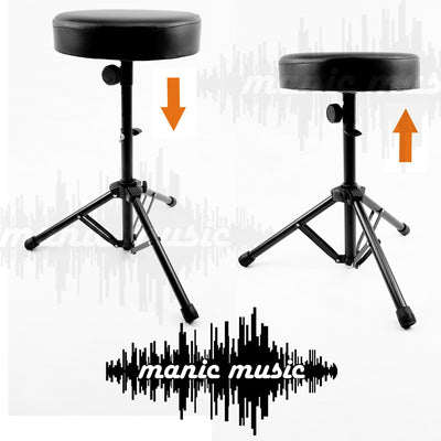 Drum Stool Throne Height Adjustable Foldable Thick Padded Guitar Keyboard Piano