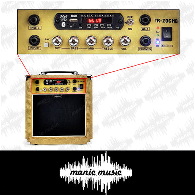 Guitar Amplifier 20W Rechargeable Bluetooth Amp USB FM Effects MP3 Mic Aux FREE POSTAGE