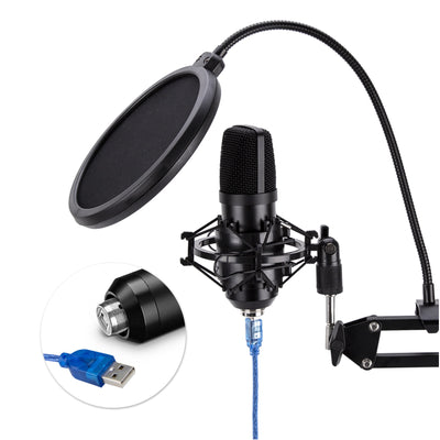 USB Condenser Microphone Kit Plug & Play Cardioid Mic Podcast Gaming Studio Zoom