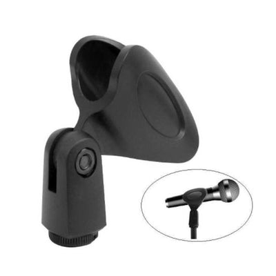 "Mic Clip Holder for Microphone Flexible Rubberized Plastic Universal + 3/8"" to 5/8"" Thread Adapters"
