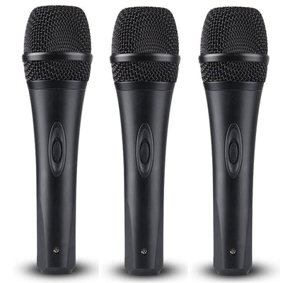 3x Dynamic Microphone + Mic Cables 3 Pack With Switch & Metal Mesh Vocal Karaoke Free Post