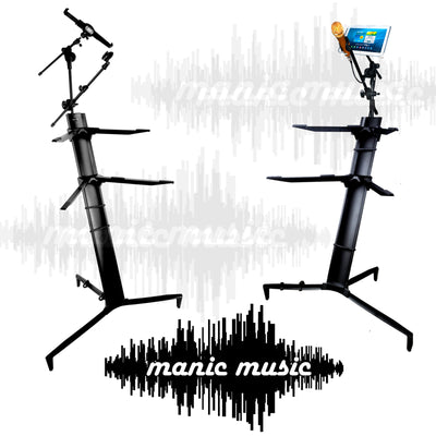 Keyboard Piano Synth Stand Portable Folding 2 Tier + Tablet Phone Mic Mount + Bag