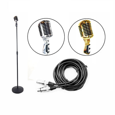 Classic Vintage Dynamic Microphone Pack Includes Mic Stand & Cable Gold / Sliver