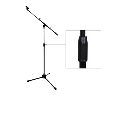 Microphone Stand Telescopic Boom Arm Mic Clip Metal Tripod Base  Extra Tall 2.02M
