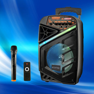 "Bluetooth PA Speaker 8"" & Wireless Microphone Portable Trolley Rechargeable Remote Radio DJ USB LED"