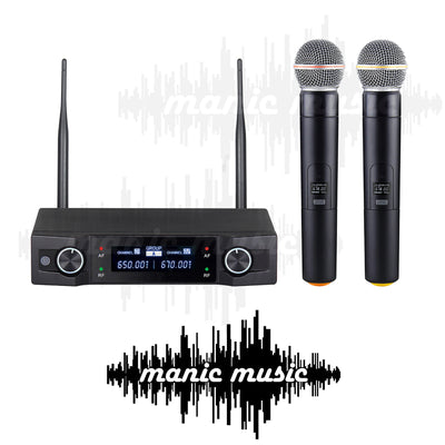 Dual Wireless Microphone System 2x Professional Cordless Mic Karaoke Vocal Stage FREE POSTAGE