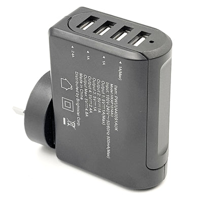 4 Port USB Charger Hub AC Wall Mains  5V 4.8 Amp Travel Fast Charger AU Plug