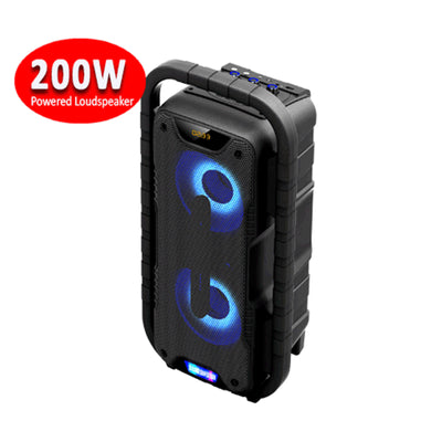 200w Bluetooth Portable Party Speaker PA Equalizer 2x Mic Input Radio USB Remote