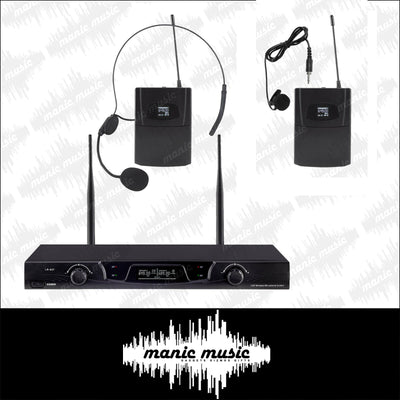 Dual Wireless Microphone Choose Headset Handheld Lavalier Mic 2x Cordless System