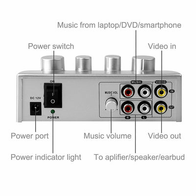 Karaoke Mixer Echo Effects MIC Microphone Pre-amplifier for Home Theater System