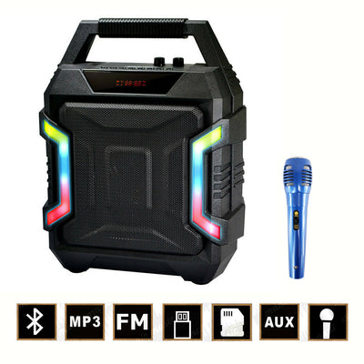 Bluetooth/Wireless 10W Speaker/FM Radio + Free Microphone Karaoke Work Party