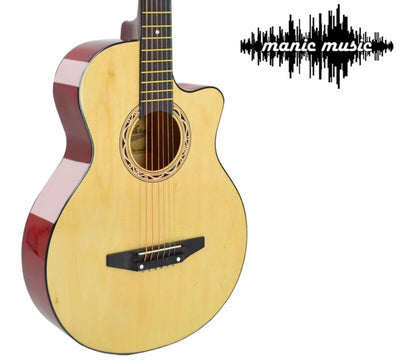 "38"" Cutaway Wooden Steel String Acoustic Guitar + Premium 15 Pcs Accessory Kit"