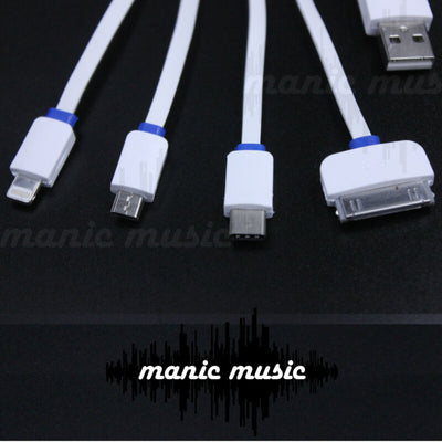 4 in 1 USB Charger Cable Type C iPhone 7 Plus iPad Samsung 30 pin Multi Plug 1m