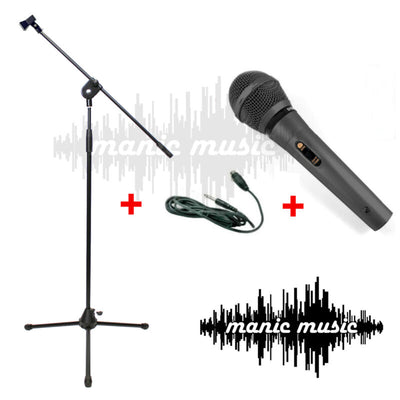 MICROPHONE PACKAGE with 3M XLR CABLE LEAD + EXTRA TALL 2.2M BOOM MIC STAND for KARAOKE VOCAL