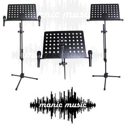 Full size Microphone Mic & Sheet Music Stand + Mic Holders Combo