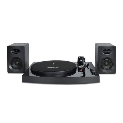 Bluetooth Stereo Turntable Vinyl Record Player System with Speakers Black