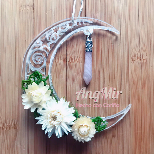 Floral Luna Wall/Window Art  Rose Quartz