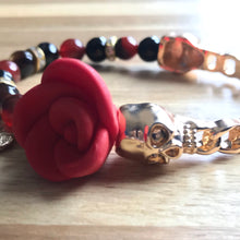 Load image into Gallery viewer, Calavera Rose Bangle Bracelet