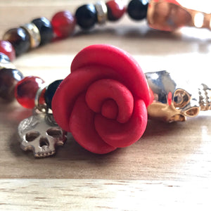 Calavera Rose Bangle Bracelet