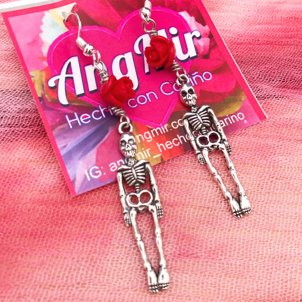 Skeleton Rose Earrings